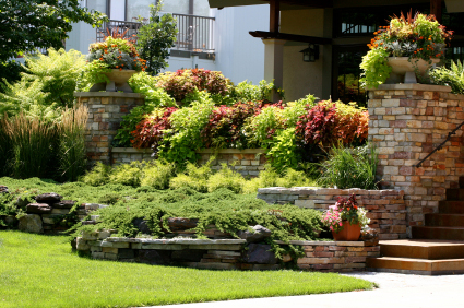 stonework and flower beds landscaping
